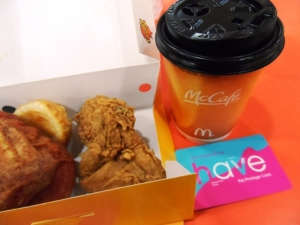 Free Texas Chicken and Mcdonalds Coffee (and etc) at  Vevo City for tourists.