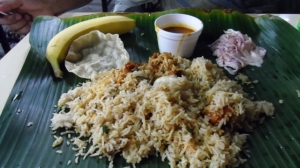 Chicken Biryani Meal at a Indian Cafeteria near Tekka Market.  5 SGD , good for 2