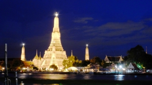 Stunning View of Wat Arun at night, from the opposite side of the river
