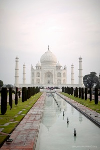 A view of Taj at around 7 am opening time. The complex is calm and less crowdy at this hour. The Fountain is still off , and is the only time we can capture the majestic Taj's reflection on clear waterways.