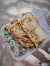 Masala Egg Omelette Sandwich . A cheap street food , prepared while you wait. Which was is good because you get to see how its done. (think fairly clean street food)
