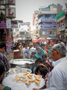 Free Food at Pajarganj !! =) well , its for the locals only.  Its like a weekly alms giving of wealthy hindu Families. You see this everywhere in India, mostly near temples