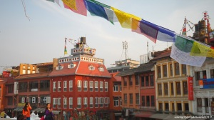 Downtown Kathmandu . the nice side of the city surrounding boudanath stuppa