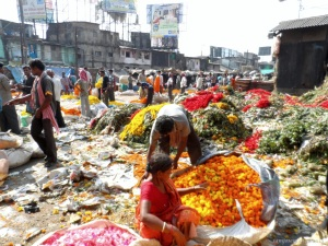 Flower Market near Howrah Bridge. Interesting  Sight to see  in Kolkata.