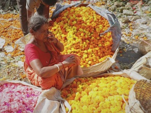 Flower Market in Kolkata, near Hawrah Bridge connecting to to Hawrah Train station .