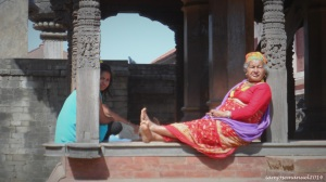 Old Lady lounging around the Bhaktapur Square