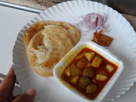 My First Street Food , some fried roti and Kari