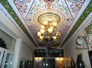 Jaipur Hotel Lobby  , almost all the boutique hotels Ive visited have lavish embellishments and hand painted frescos which gives it that authentic indian feel.