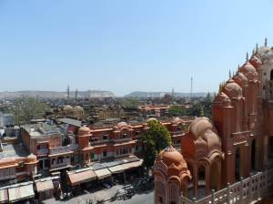View of Jaipur and the Desert state of Rajasthan from a tower of Hawa Mahal