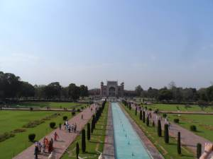 View of the complex entrance way, when standing righr at the grounds of the tomb