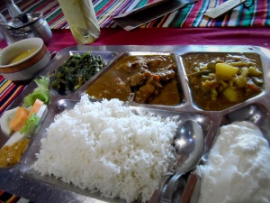 Ny first Meat Thali Meal in Nepal. Nepali food is a fusion of Indian curried meat and Chinese Stir fried stuff. as such, this set.