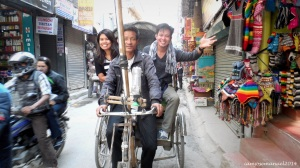 Me and Karen riding an overpriced Rickshaw around Thamel.
