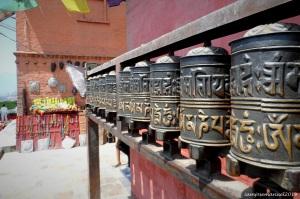 Buddhist turnbells when circumambulating the Swayambounath Stuppa . Kathmandu Nepal