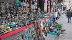 Ornament vendors in Bhaktapur, Nepal. A usual street scene there.