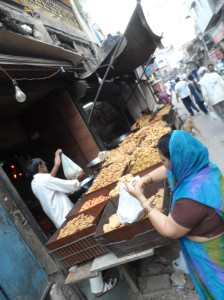 fried Samosas and wraps along Main Bazaar. a piece costs around 10 INR .