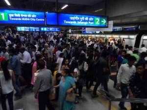 Just to give you a picture odf Delhi Metro Railway at peak hours