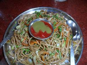 The Delicious Vegetarian Chow Mien.  just outside Pashupatinath Temple. Yummy!