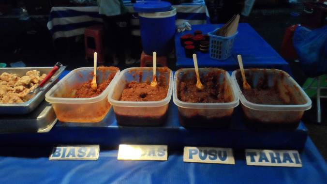 Various Sauces for Brunei Staple food, Nasi Lemak, which you will also see in Malaysian food.  These two countries share most of food, religion and culture