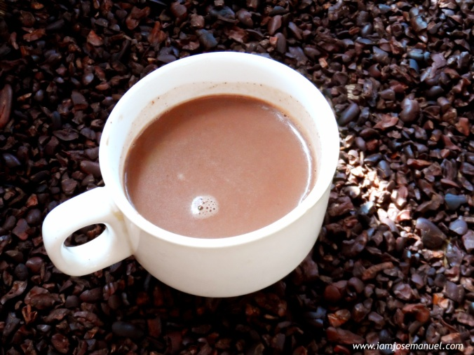 Sampling the Native Hot Chocolate drink . Freshly grounded and brewed in the Rosit Cacao Farm