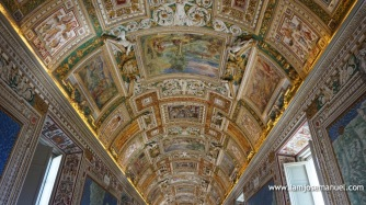 Intricate vaulted ceiling details inside the Vatican