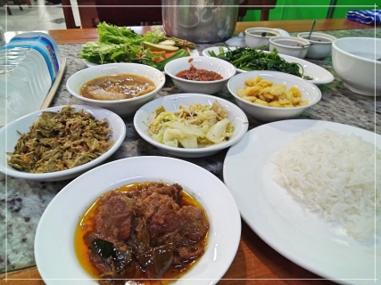 Burmese Beef Curry with lots of side dishes that I didn't expect. This was from a street side eatery in Mandalay and was the BEST meal I had in Myanmar